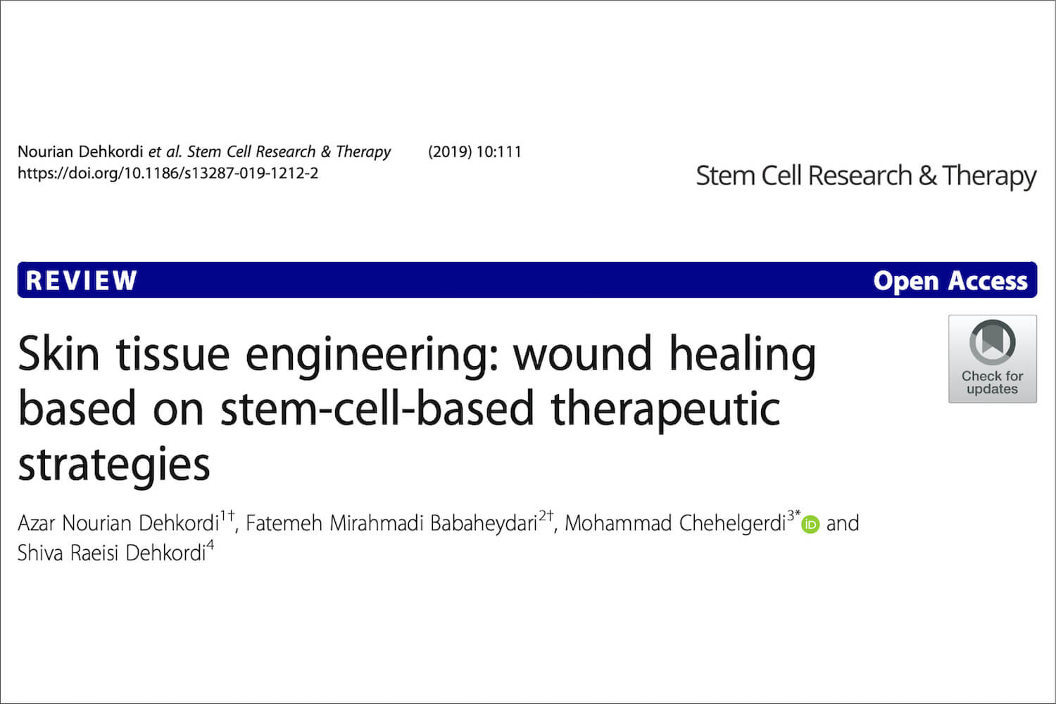 Skin tissue engineering - stem cell and wound healing